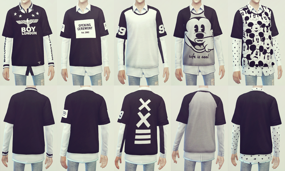 Layered Men's T-Shirts by KK - Teh Sims