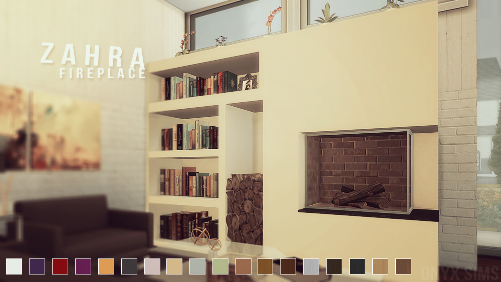 Zahra fireplace set by onyx teh sims for Salon moderne sims 4
