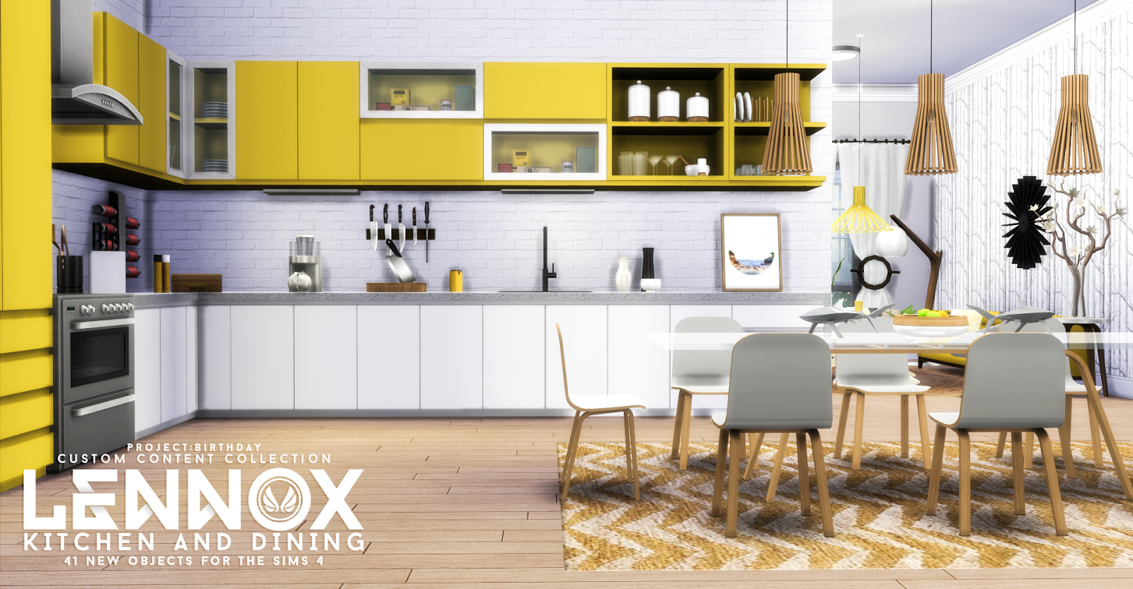 Lennox kitchen and dining by peacemaker ic teh sims for Sims 3 kitchen designs