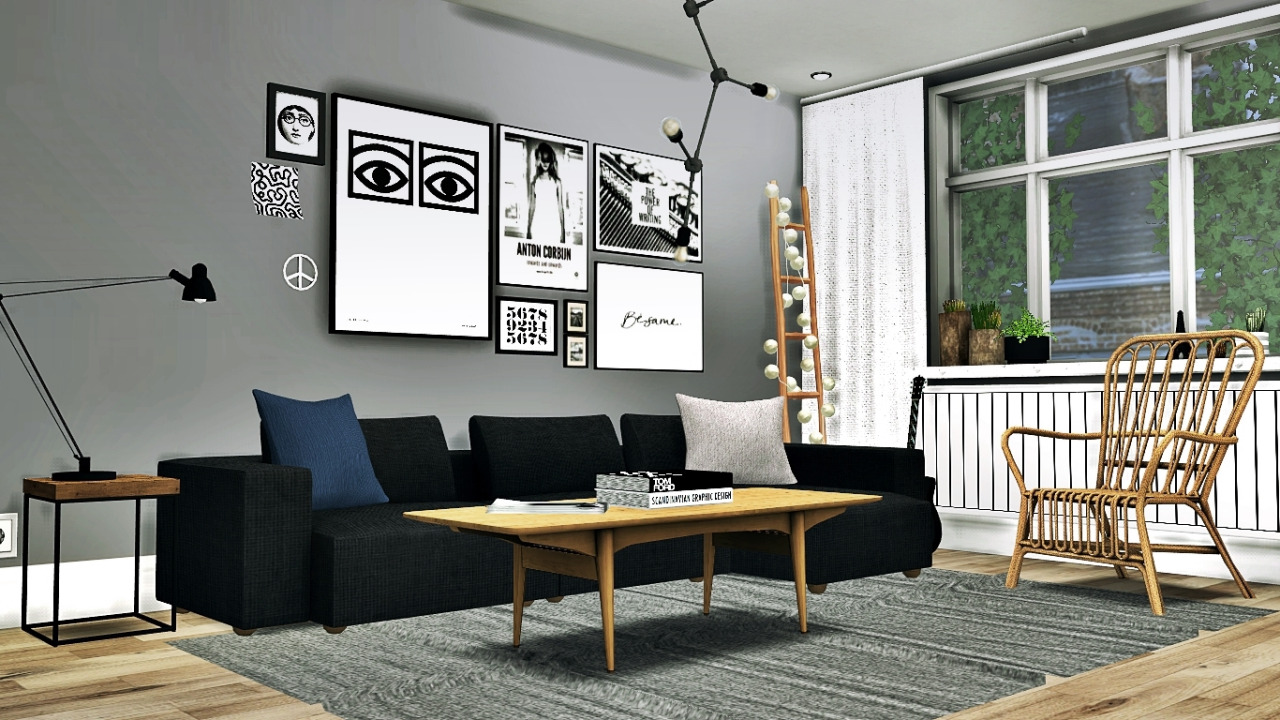 Scandinavian living conversion 4 by mxims teh sims for Modern living room sims 4