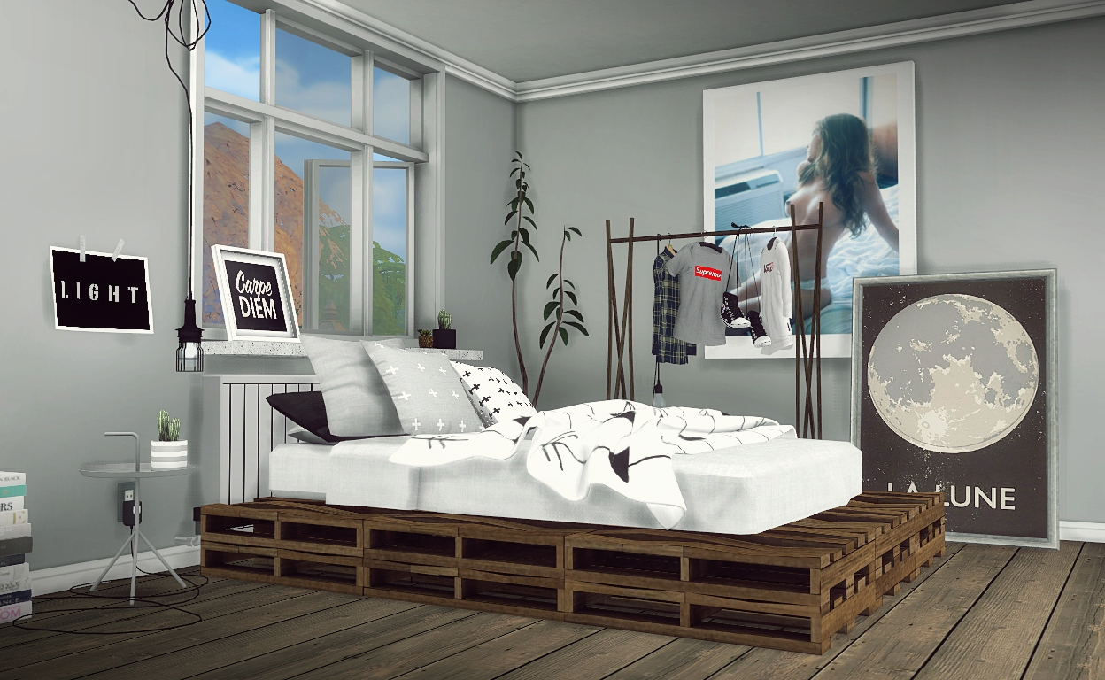 Pallet Bedroom Diy Rustic Pallet Bed By Mxims Teh Sims