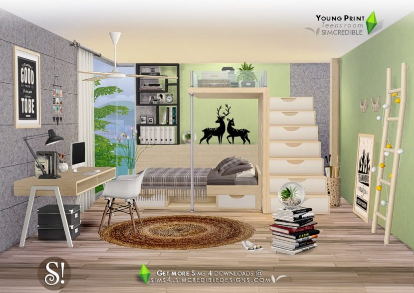 Young Print Teen Bedroom By Simcredible Liquid Sims